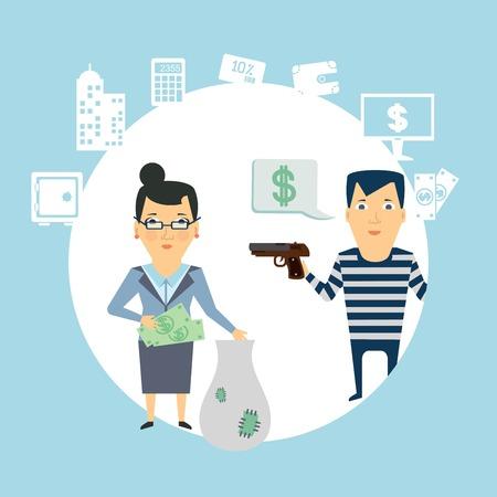 bank robbery  illustration Stock Illustratie
