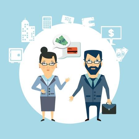 financial adviser: bank employee to talk to customers  illustration Illustration