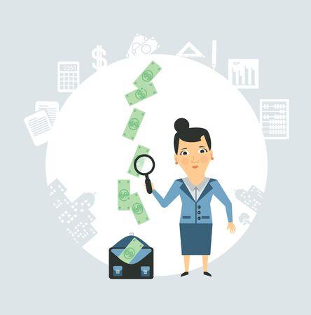 treasury: Accountant steals money illustration