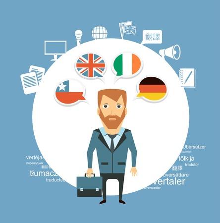 applauding: translator speak different languages   illustration Illustration