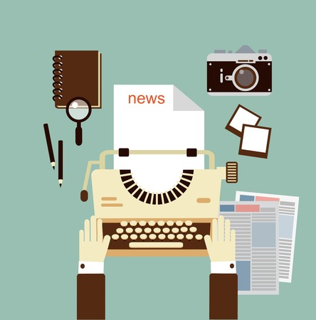 journalist publishes news on a typewriter   illustration 向量圖像