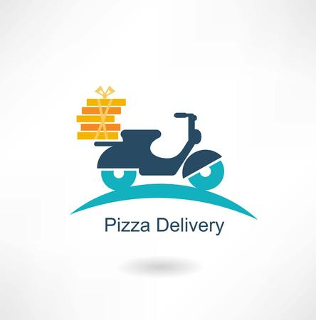 scooter carries pizza 向量圖像