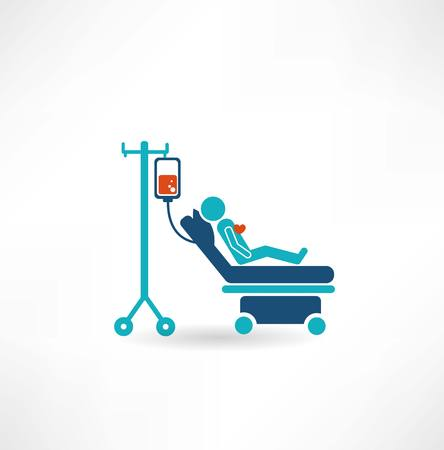 donor lies on a gurney and blood transfusions icon
