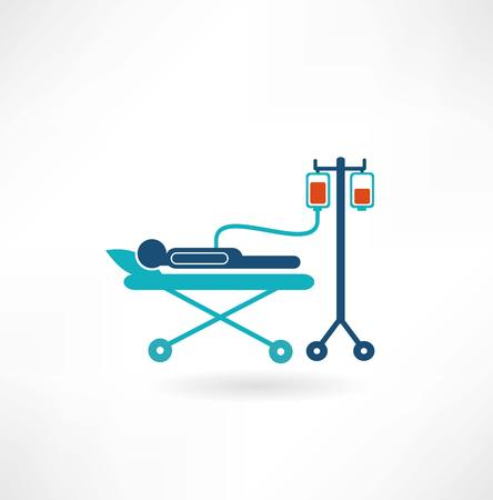 blood supply: donor lies on a gurney and blood transfusions icon
