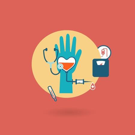 cruz roja: criterios de salud, peso, presión, icono donante pulso Vectores