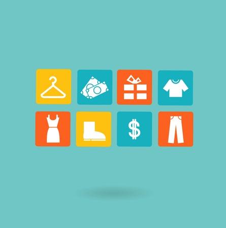 16 icons set. Shopping, Euro