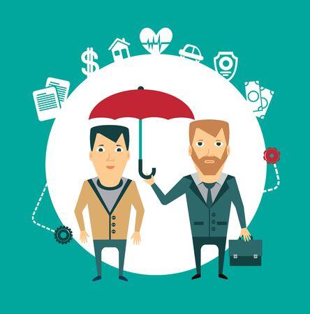 insurance agent holding umbrella illustration Vector