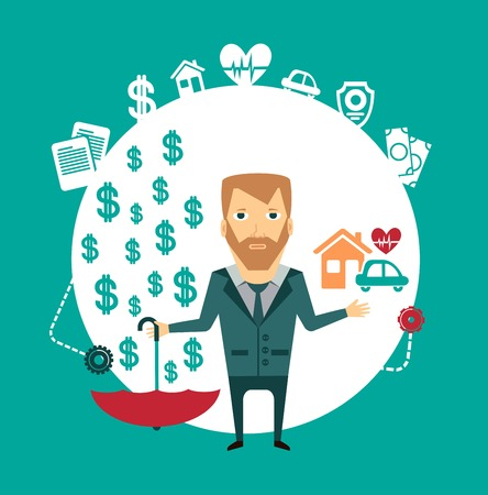 household insurance: insurance agent holding a house, a car, a heart and an umbrella in the other hand, where the money sypyatsya illustration