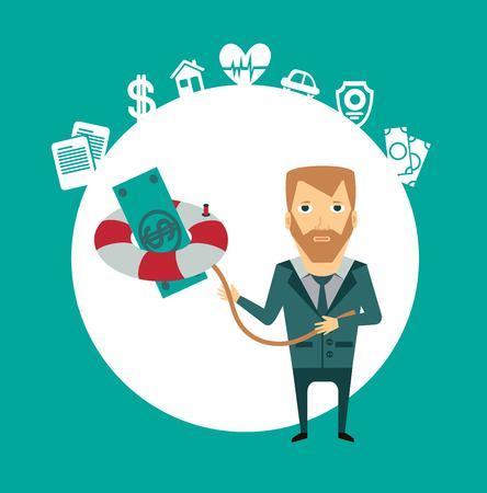 keeps: agent keeps a lifeline with money illustration Illustration