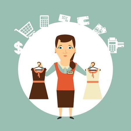 Seller offers clothing  illustration Çizim