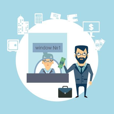 a bank teller  illustration