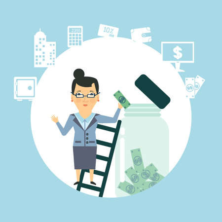 bank employee to keep money in the glass jar  illustration Illustration