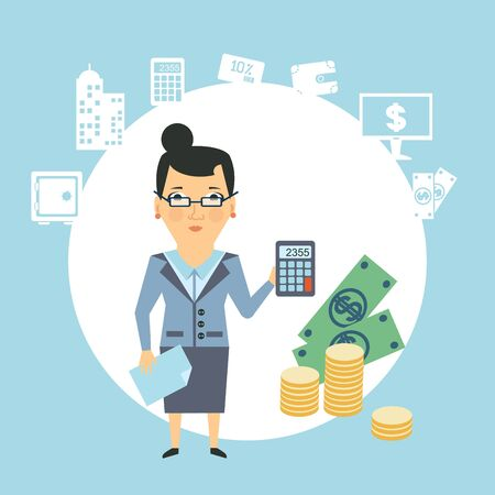 a bank employee: bank employee counts money  illustration