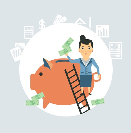 Accountant throws money into a pig illustration