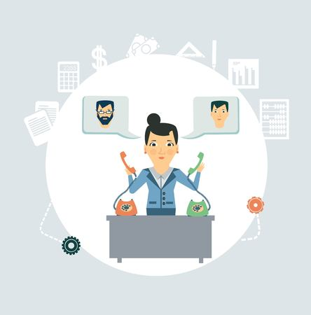 taking notes: Accountant calling clients and partners illustration