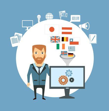 translator works at the computer  illustration Vector