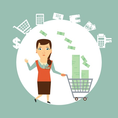 salesman carries the cart with money  illustration Vector