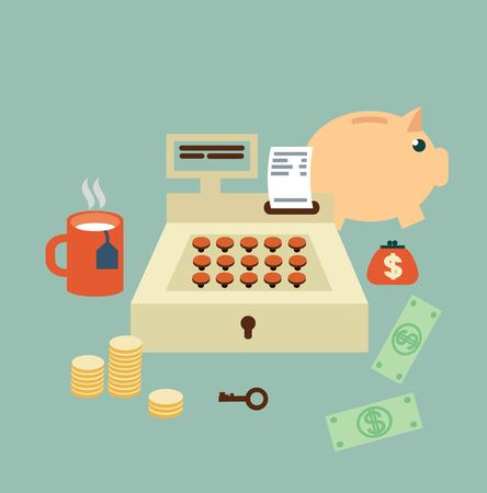 cash register seller  illustration