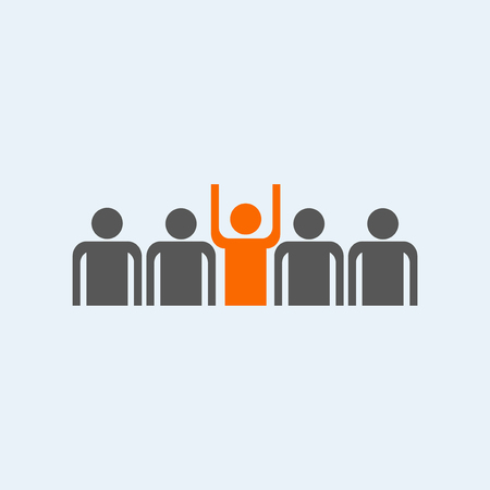 crowd happy people: stand out from the crowd  icon