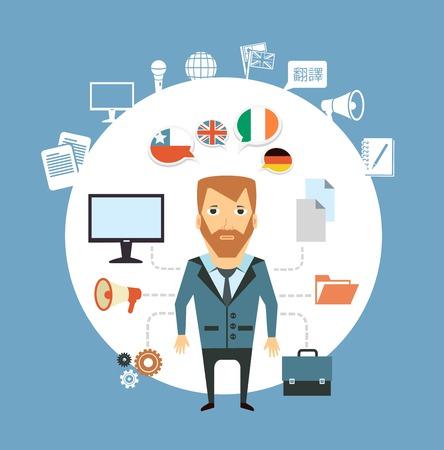translation: translator works at the computer  illustration Illustration