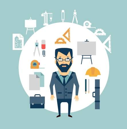 architect tools: architect of working tools illustration Illustration