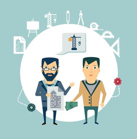 architect: architect talking to a customer illustration