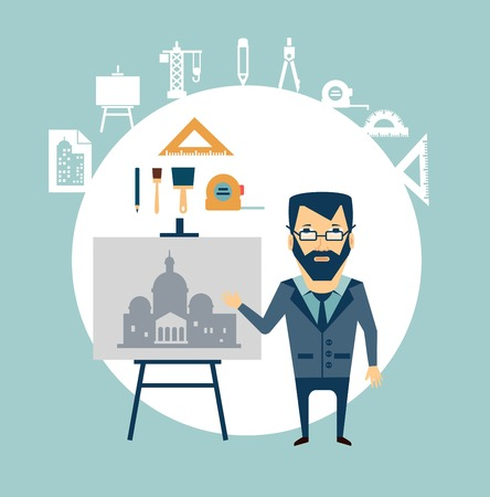 restoring: architect restoring old buildings illustration