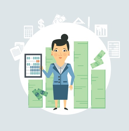 accountant counting money illustration Çizim