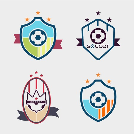 Set of soccer football crests and logo emblem designs Vector