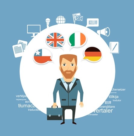 translator: translator speak different languages   illustration Illustration