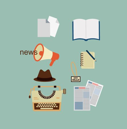 content writing: typewriter, hat, sheets of paper, a notebook, a newspaper journalist illustration