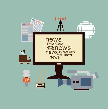 anchorman: journalist says TV news illustration Illustration