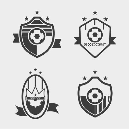 Set van voetbal voetbal toppen en logo embleem ontwerpen Stock Illustratie