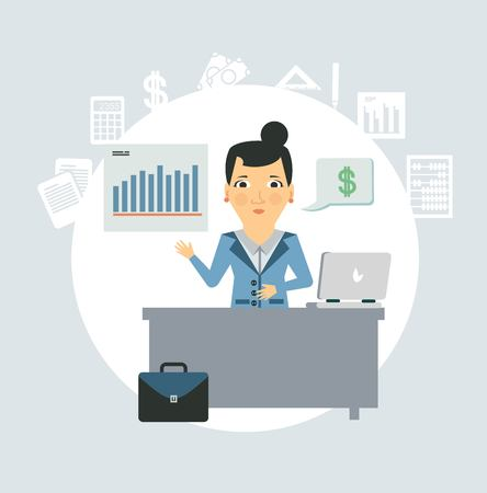 accountants: accountant sitting behind a desk illustration Illustration