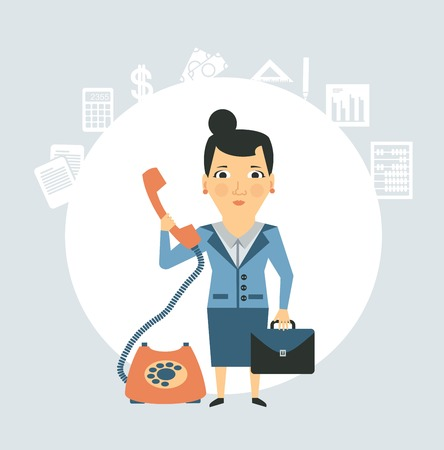 corded: accountant talking on the phone illustration Illustration