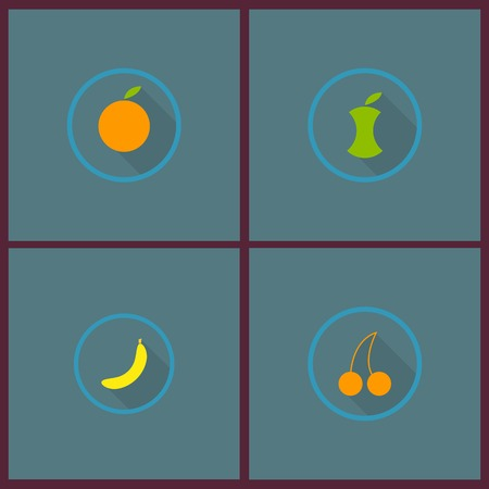 Fruits and Vegetables Icons Illustration