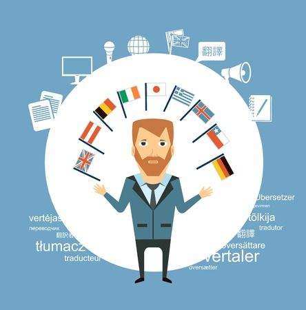 translator  with flags of different countries illustration Vectores