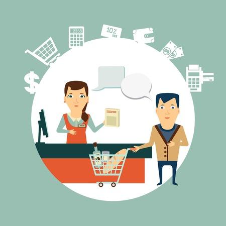 mujer en el supermercado: supermercado cajero atiende a clientes ilustración