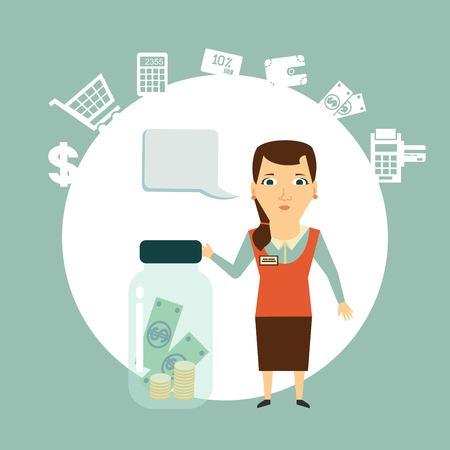keeps: the seller keeps the money in the bank illustration Illustration