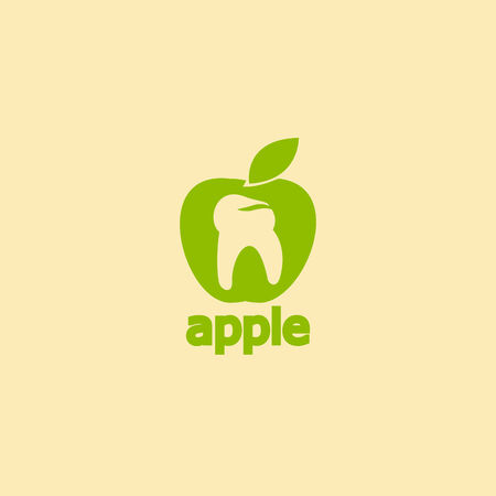 tooth apple icon Illustration
