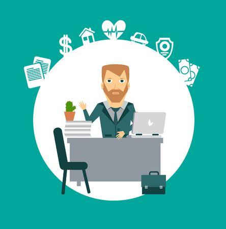 insurance agent sitting at a desk illustration Çizim