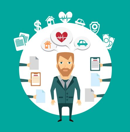 consultancy: insurance agent works with clients illustration