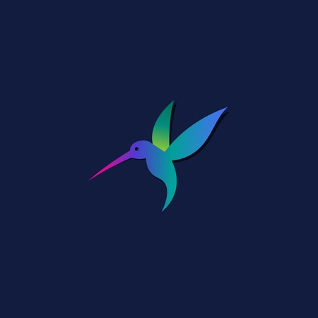 birds of paradise: Flying hummingbird or logo template.