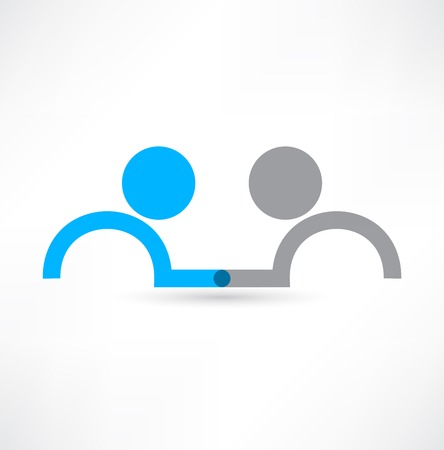 ハンドシェイクのアイコン。ロゴのデザイン。