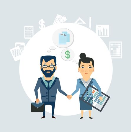 Accountant shakes hands with partner companies illustration Illustration