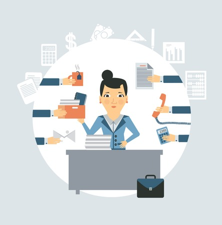 multitask: accountant all needed in the workplace illustration