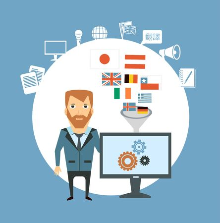 financial freedom: translator works at the computer  illustration Illustration