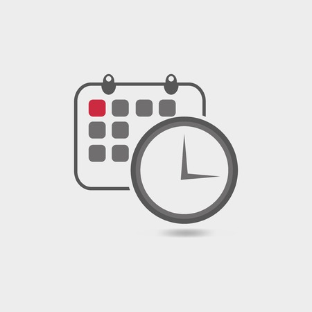 Vector illustration of timing  with classic office clock and detailed calendar icon