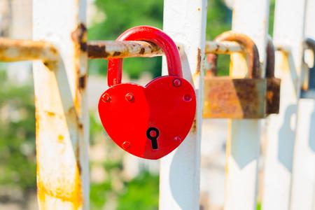 locks: Close-up of padlocks on bridge railing Stock Photo