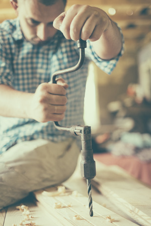 hand drill: Old hand drill working Stock Photo